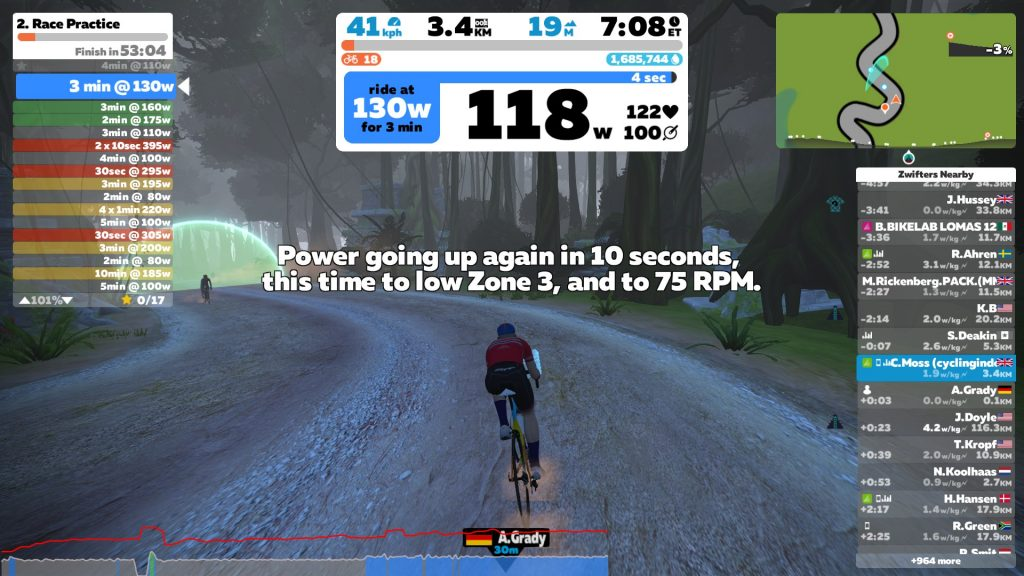 Zwift Academy 2019 Workout #2: Race Practice   Cycling Indoors
